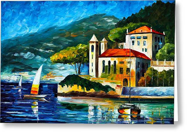 Owner Greeting Cards - Italy Lake Como Villa Balbianello Greeting Card by Leonid Afremov
