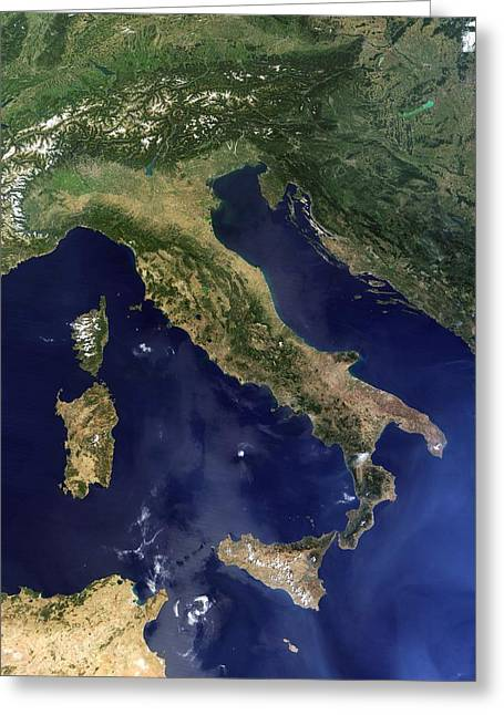 August 22 Greeting Cards - Italy, satellite image Greeting Card by Science Photo Library