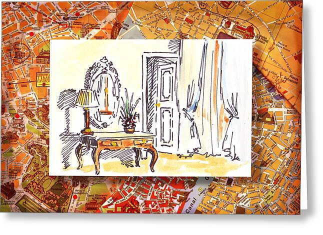 Aged Art Greeting Cards - Italy Sketches Venice Hotel Greeting Card by Irina Sztukowski