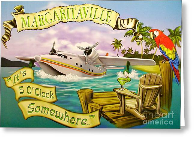 Tropical Beach Greeting Cards - Its 5 OClock Somewhere Greeting Card by Desiderata Gallery