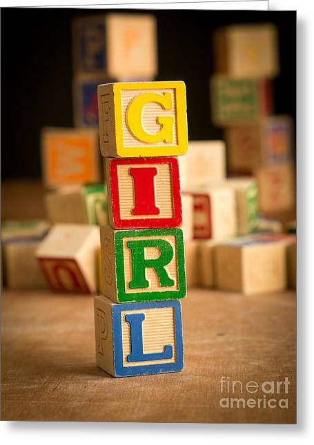 Wooden Alphabet Blocks Greeting Cards - Its a Girl - Alphabet Blocks Greeting Card by Edward Fielding