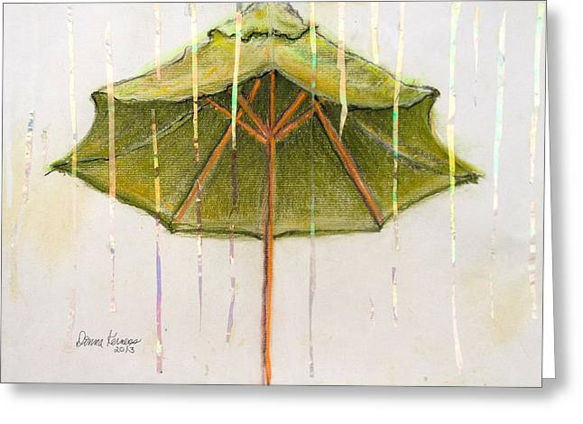 Umbrella Pastels Greeting Cards - Its Raining Its pouring Greeting Card by Donna Kerness