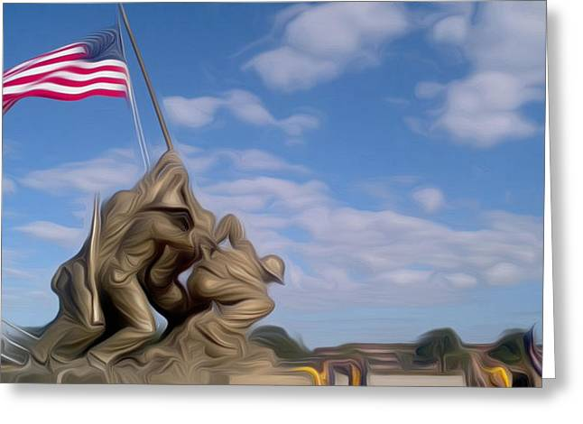 Usmc Base Greeting Cards - Iwo Jima Memorial Greeting Card by Jewels Blake Hamrick