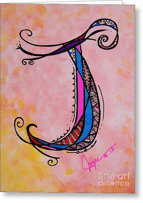 Fairy Hearts Pink Flower Greeting Cards - J Monogram Greeting Card by Joyce Auteri