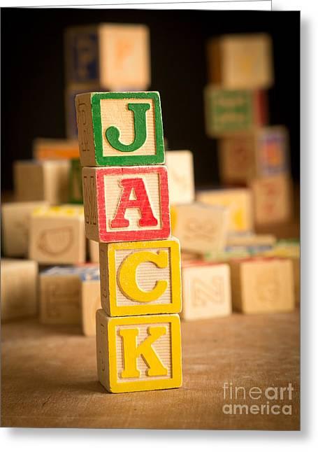 Spelling Greeting Cards - JACK - Alphabet Blocks Greeting Card by Edward Fielding