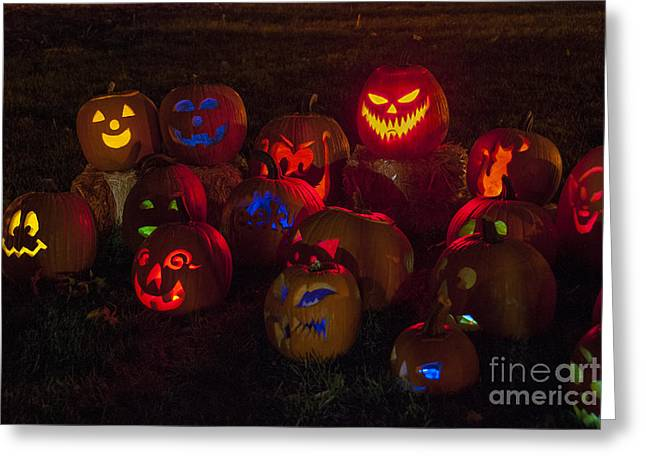 Frightful Greeting Cards - Jack O Lanterns Greeting Card by Juli Scalzi