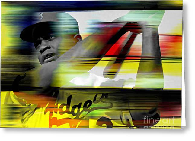Jackie Robinson Greeting Cards - Jackie Robinson Greeting Card by Marvin Blaine