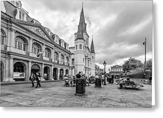 Hanging Out Greeting Cards - Jackson Square monochrome Greeting Card by Steve Harrington