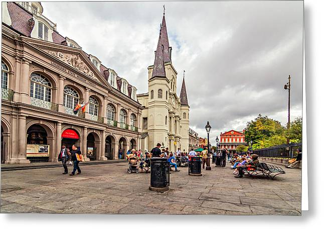 Hanging Out Greeting Cards - Jackson Square Greeting Card by Steve Harrington