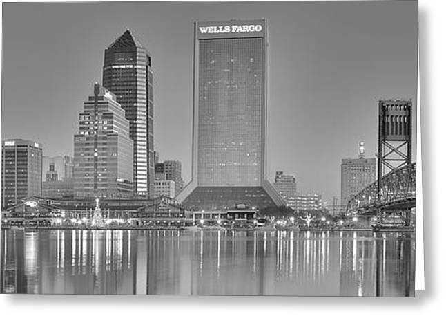 Recently Sold -  - Jacksonville Greeting Cards - Jacksonville Florida Black and White Panoramic View Greeting Card by Frozen in Time Fine Art Photography