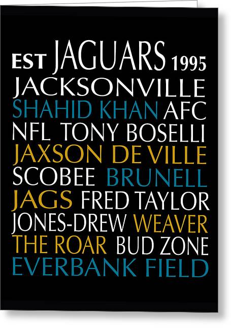 Jacksonville Digital Greeting Cards - Jacksonville Jaguars Greeting Card by Jaime Friedman