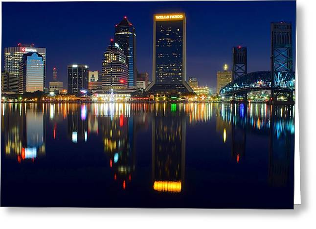 Jacksonville Greeting Cards - Jacksonville Over the St Johns River Greeting Card by Frozen in Time Fine Art Photography