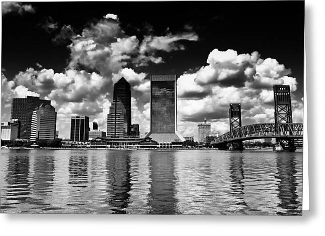 Jacksonville Florida Greeting Cards - Jacksonville Skyline Greeting Card by Mountain Dreams