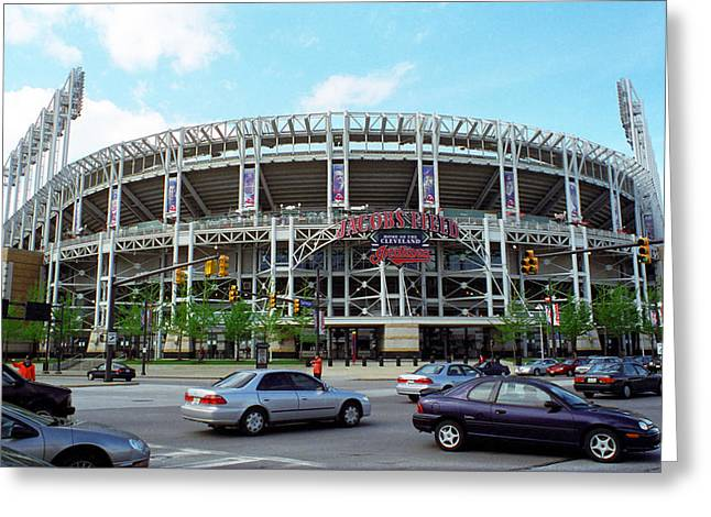 Police Art Greeting Cards - Jacobs Field - Cleveland Indians Greeting Card by Frank Romeo