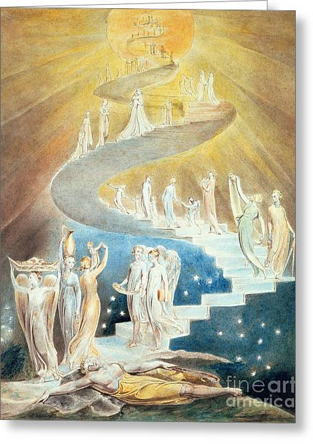 Jacobs Greeting Cards - Jacobs Ladder Greeting Card by William Blake