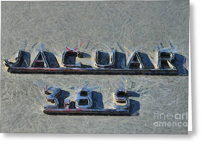 Vintage Hood Ornament Paintings Greeting Cards - 1966 Jaguar 3.8 S Type Greeting Card by George Atsametakis