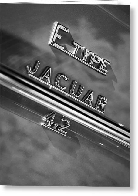 Jaguars Greeting Cards - Jaguar E-Type 4.2 Emblem -0065bw Greeting Card by Jill Reger