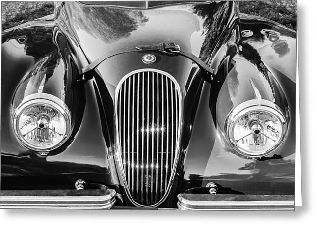 Jaguars Photographs Greeting Cards - Jaguar Hood Grille -0023bw Greeting Card by Jill Reger