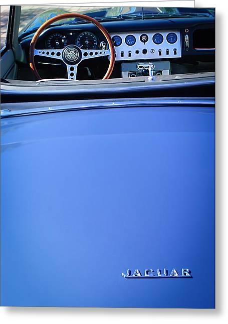 Jaguars Greeting Cards - Jaguar Steering Wheel - Emblem Greeting Card by Jill Reger