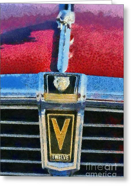 Vintage Hood Ornament Paintings Greeting Cards - Jaguar V12 badge Greeting Card by George Atsametakis
