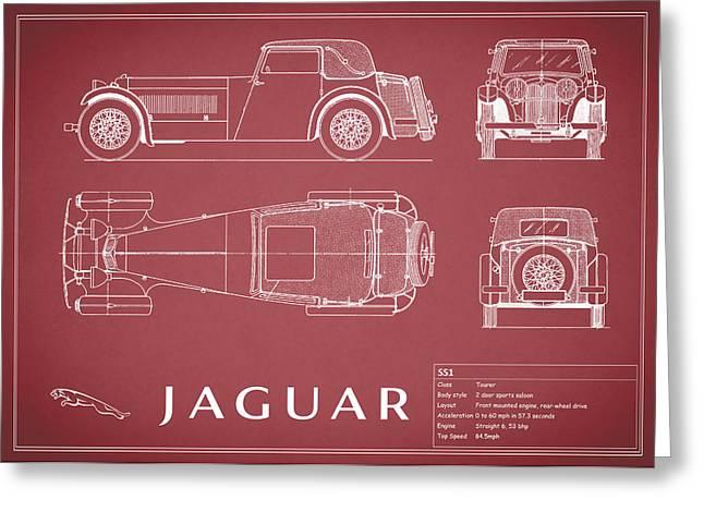 Jaguars Greeting Cards - Jaguar SS1 Blueprint Greeting Card by Mark Rogan