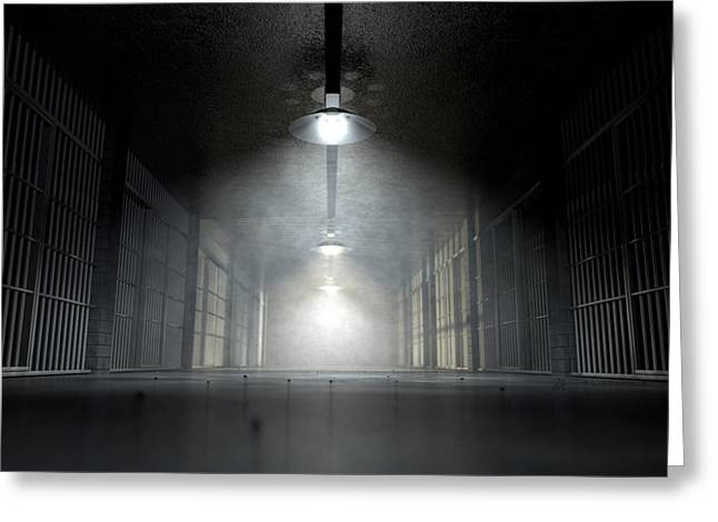 Ghostly Digital Greeting Cards - Jail Corridor And Cells Greeting Card by Allan Swart