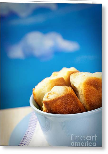 Wooden Bowl Greeting Cards - Jam rolls Greeting Card by Mythja  Photography