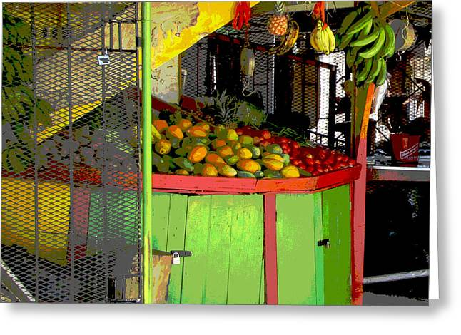 Green And Yellow Abstract Greeting Cards - Jamaican Fruit Stand Greeting Card by Ann Powell