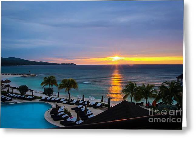 Blue Abstracts Pyrography Greeting Cards - Jamaican Sunset Greeting Card by Jeremy  Shusman