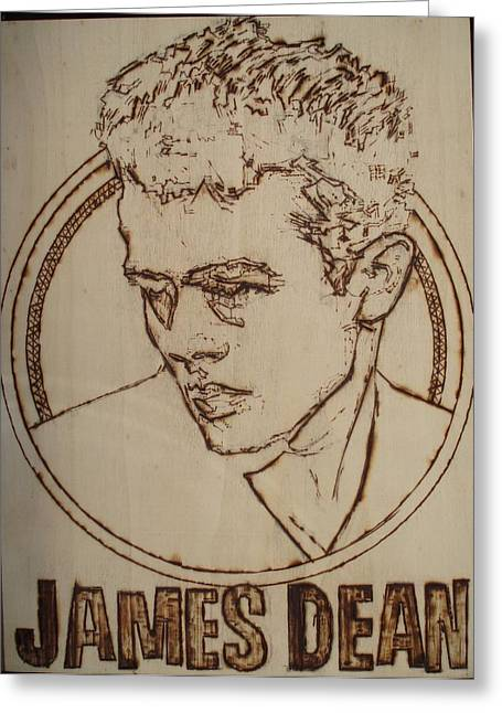 Classic Hollywood Pyrography Greeting Cards - James Dean Greeting Card by Sean Connolly