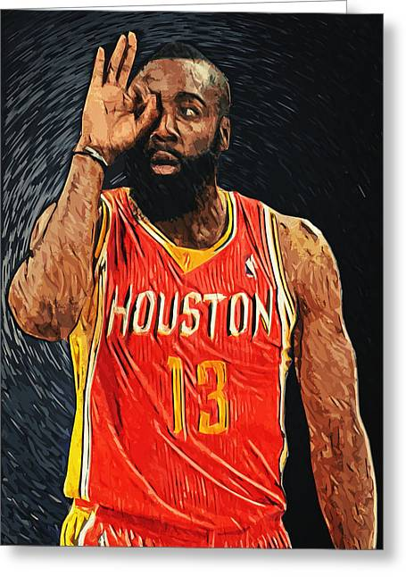 Dwight Howard Greeting Cards - James Harden Greeting Card by Taylan Soyturk