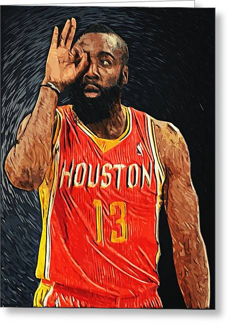 Artest Houston Rockets Greeting Cards - James Harden Greeting Card by Taylan Soyturk