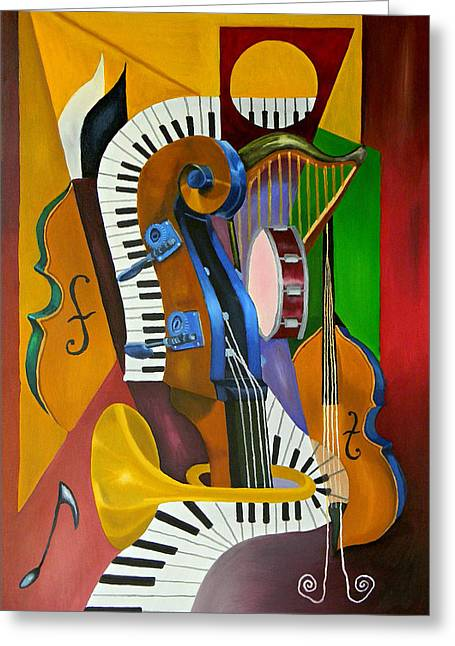 Cubism Art Greeting Cards - Jammin With JC Greeting Card by Brien Cole