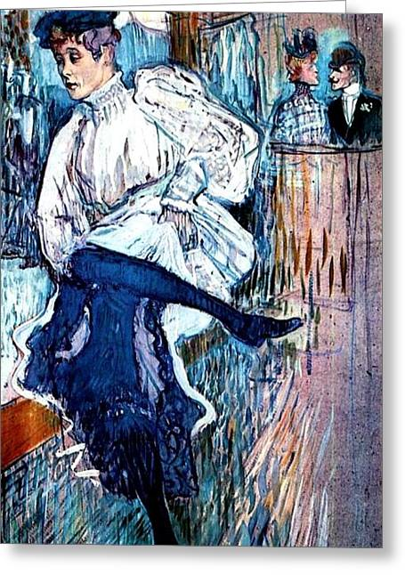 Cardboard Greeting Cards - Jane Avril Dancing Greeting Card by Pg Reproductions
