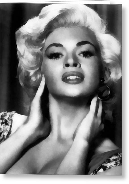 Pin-up Model Greeting Cards - Jane Mansfield Greeting Card by Studio Release