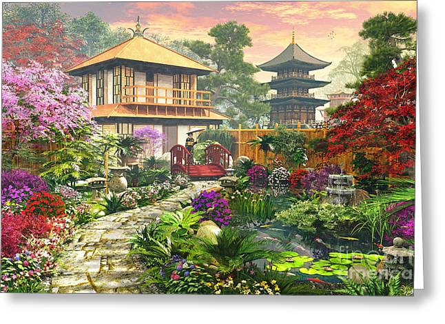 Cobble Stone Greeting Cards - Japan Garden Greeting Card by Dominic Davison