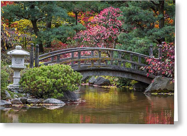 Forest Photographs Greeting Cards - Japanese Bridge Greeting Card by Sebastian Musial