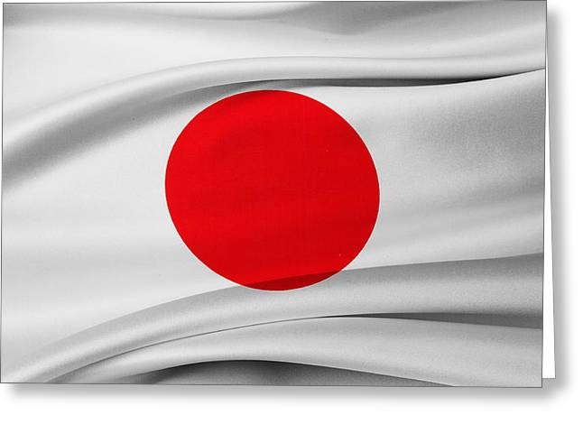 Textile Photographs Greeting Cards - Japanese flag Greeting Card by Les Cunliffe