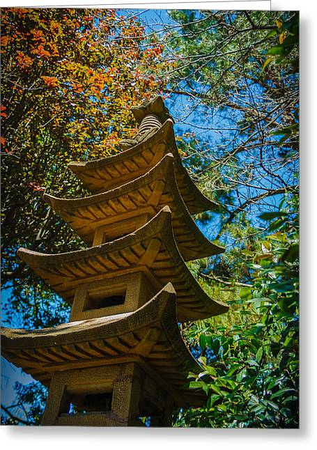 Green Lantern Photographs Greeting Cards - Japanese shrine in the garden Greeting Card by Sarit Sotangkur