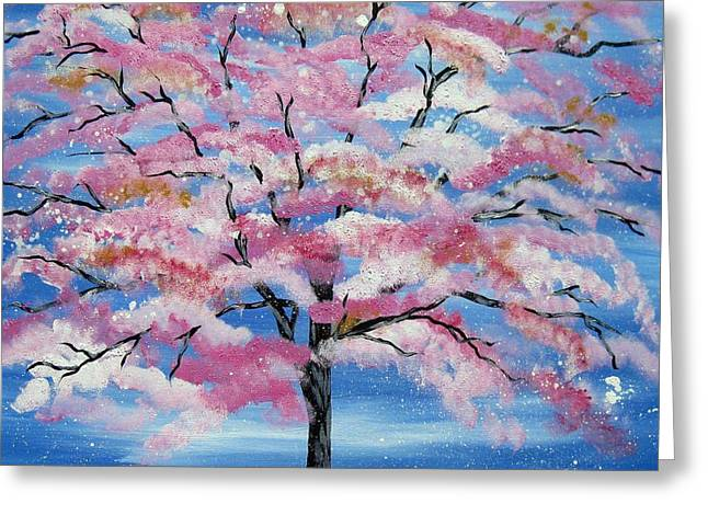 Cheap Paintings Greeting Cards - Japanese Tree Greeting Card by Cathy Jacobs