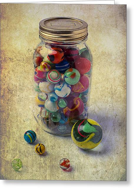 Spheres Greeting Cards - Jar Of Marbles Greeting Card by Garry Gay