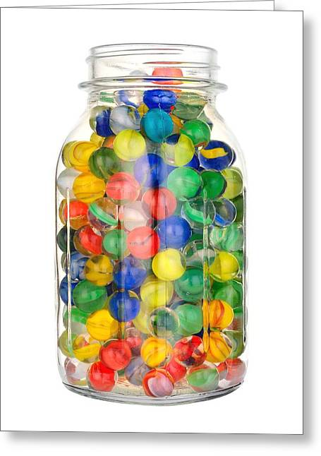 Mason Jar Greeting Cards - Jar of Marbles Greeting Card by Jim Hughes