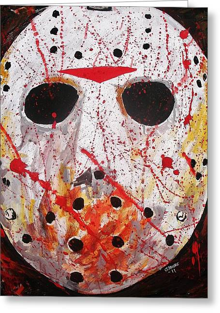 Goalie Paintings Greeting Cards - Jason Greeting Card by Jeremy Moore
