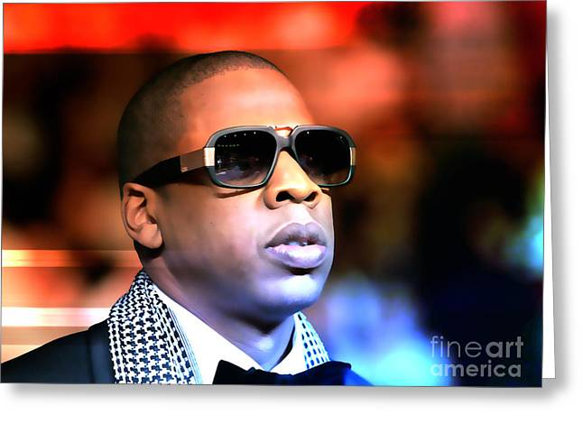 Musician Mixed Media Greeting Cards - Jay Z Greeting Card by Marvin Blaine