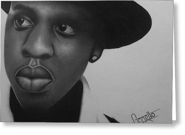 Realistic Greeting Cards - Jay-Z Portrait  Shawn Carter Greeting Card by Andres Carbo