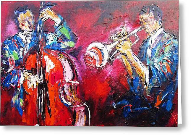 Most Commented Framed Prints Greeting Cards - Jazz Duo- Ideal For Jazz Venues Greeting Card by Mary Cahalan Lee