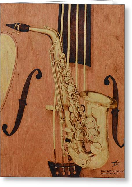 Orchestra Pyrography Greeting Cards - Jazz is the Color Greeting Card by Laurisa Borlovan
