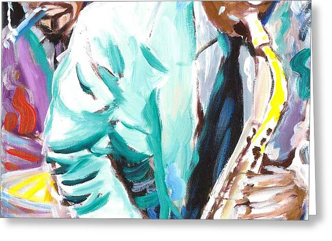 Canvas Framing Paintings Greeting Cards - Jazz Jam 1940s Greeting Card by Jonathan Tyson