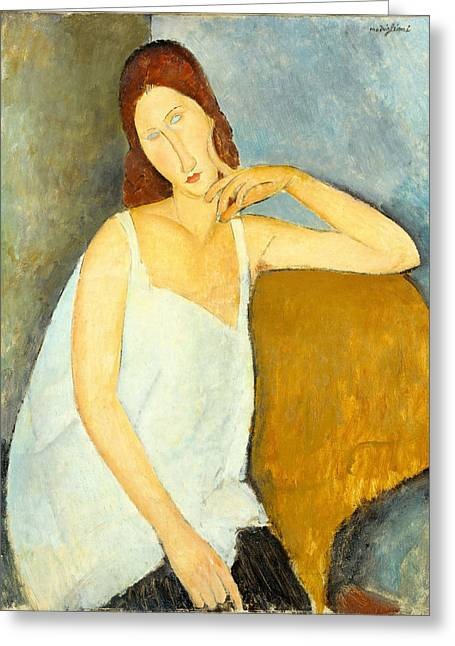 Hebuterne Greeting Cards - Jeanne Hebuterne Greeting Card by Amedeo Modigliani
