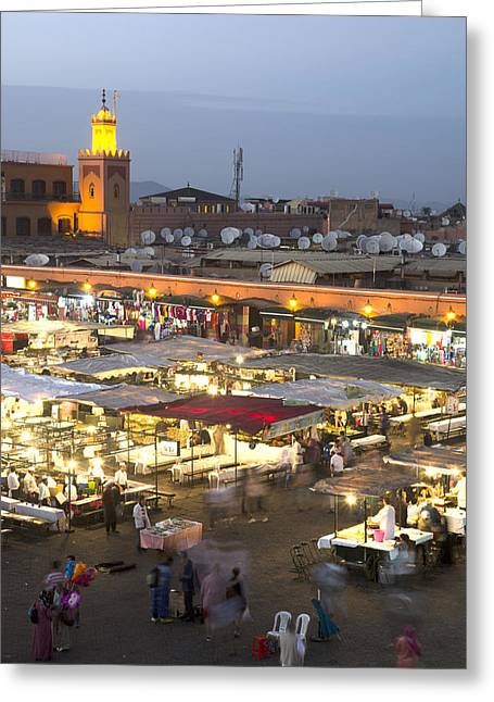 Local Food Places Greeting Cards - Jemaa El Fna at dusk Marrakech Morocco Greeting Card by Martin Turzak